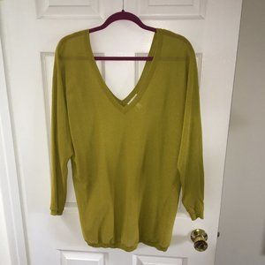 Leith Olive Sheer Double V Sweater